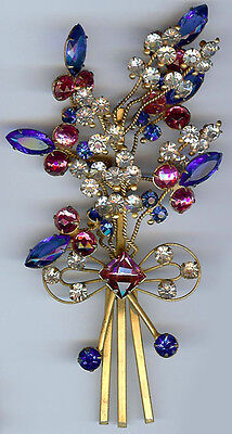 Huge Vintage Glorious Pink Blue & Clear Rhinestone Layered Floral Bouquet Pin