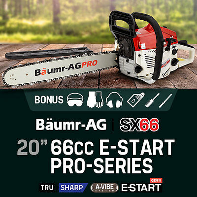 """NEW Chainsaw 66cc Petrol Commercial Chain Saw 20"""" Bar Baumr-AG e-Start Pruning"""