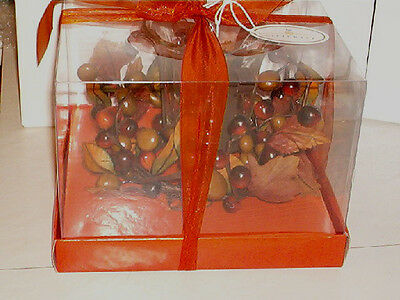 VOTIVE CANDLE HOLDER WITH LEAVES & GRAPES  GREAT FOR FALL & THANKSGIVING   H2