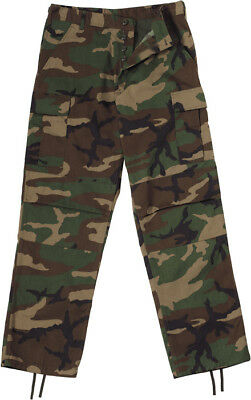Mens Woodland Camouflage Military BDU Cargo Bottoms Fatigue Trouser Camo Pants
