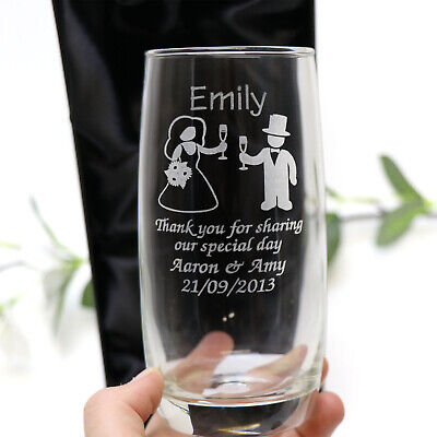 Personalised Engraved 370ml Soft Drink Glass Wedding Page Boy Flower Girl Gift