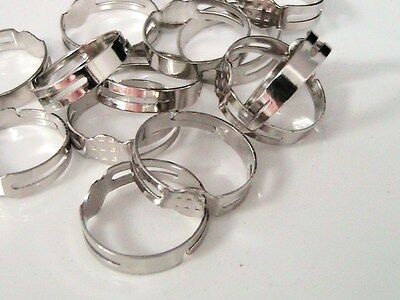 20 x Antique Silver Colour Adjustable Ring Blanks 5.5mm Flat Pad Glue J66
