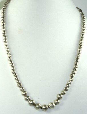 Vtg 1930's Mexican Hand Wrought Ball Beads Necklace Approx 27 Inch