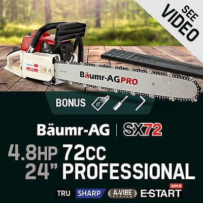 """NEW Baumr-AG 76cc Commercial Chainsaw 24"""" e-Start Bar Petrol Pruning Chain Saw"""