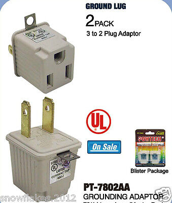 2 Prong to 3 Prong AC Power Outlet Grounding Adapter tap plug UL grounded- 2pcs