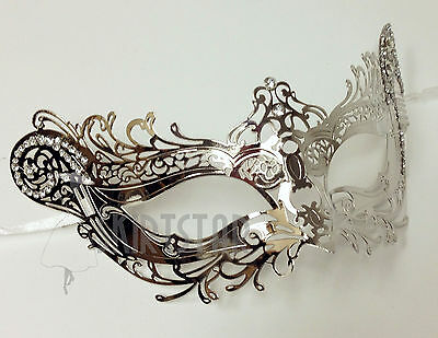 Laser Cut Venetian Mask Silver Chrome Masquerade Costume Ball Crystal Fancy Prom