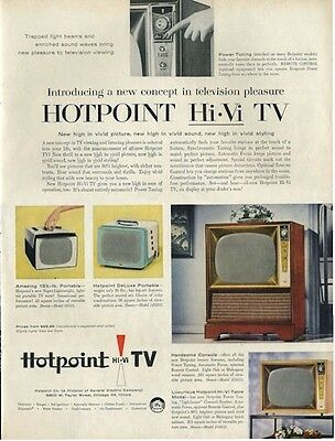 1956 Hotpoint Vintage Television Models Portable  PRINT AD
