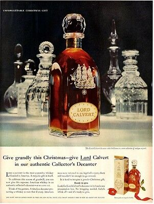 1958 Lord Calvert PRINT AD Whisky Ship Etched Gift Decanter Bottle Vintage
