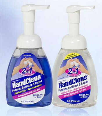 Woodward's HandClens 2-in-1 Foaming Sanitizer & Lotion Pump -8 Oz- Blue & Clear