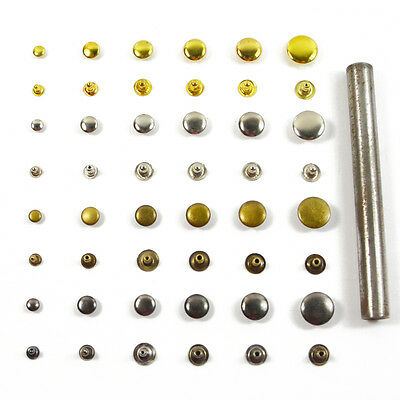 Flat Rivet Metal Spike Stud Leathercraft DIY Fashion Punk Rock With Press Tool