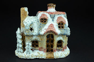 Ceramic Christmas Holiday Candle Holder House Dickens Village Light Home Decor &
