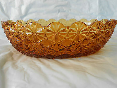 vintage Amber Glass Button & Bows Pattern Oblong Serving or Candy Dish Unknown