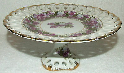 VINTAGE LEFTON CHINA HAND PAINTED FLORAL RETICULATED COMPOTE PEDESTAL DISH