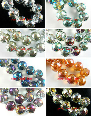10Pcs Colorized 20mm Ball Faceted Glass Crystal Finding Spacer Loose Bead Charms
