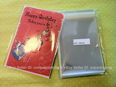 500 Pcs 5 7/16 x7 1/4 Clear (A7+) Card Resealable Poly Cello Bags for 5x7 item