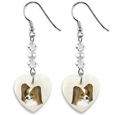 Papillon Dog 925 Sterling Silver Heart Mother Of Pearl Dangle Earrings EP297