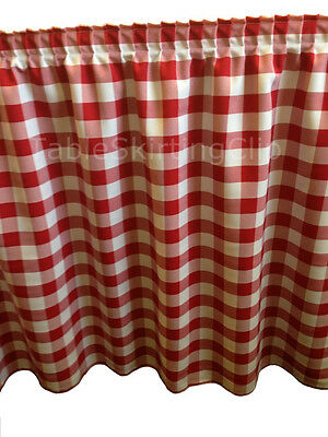 17' Red And White Checkered Table Skirt - Checker Pattern Table Skirting Skirts