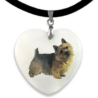 Norwich Terrier Natural Shell Mother Of Pearl Heart Pendant Necklace Chain PP96