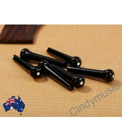 PARTS 6 X Bridge Pins Black with White Dot /Acoustic Guitar Set/FAST POSTAGE NEW