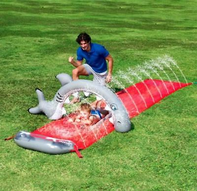 16Ft Bestway Dash N Splash Shark Bite Garden Spray Water Slide Game Toy Bw52163
