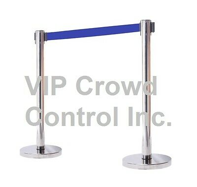 "VIP Crowd CoRETRACTABLE STANCHION, 2PCS SET, 40"" SATIN S.S. WITH 78"" BLUE BELT"