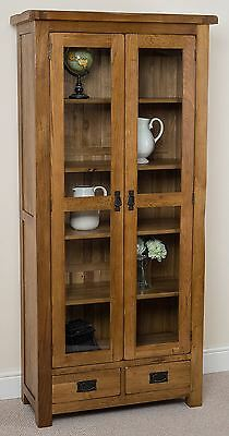 Cotswold Rustic Solid Oak Glass Display Cabinet Unit 2 Drawer 2 Door Furniture