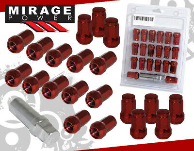 "(20 PIECE) M12 x 1.25"" ACORN STYLE RED TUNER WHEEL LUG NUTS W/ KEY FOR CARS"