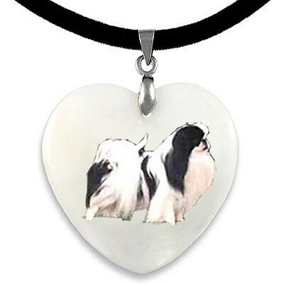 Japanese Chin Dog Natural Mother Of Pearl Heart Pendant Necklace Chain PP286