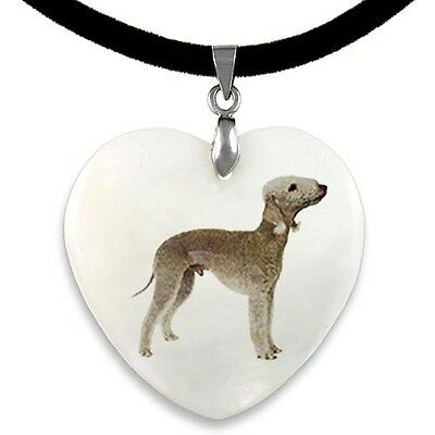 Bedlington Terrier Natural Mother Of Pearl Heart Pendant Necklace Chain PP116