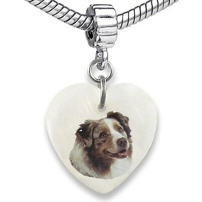 Australian Shepherd Dog Heart Natural Shell European Bracelet Charm Bead EBS196