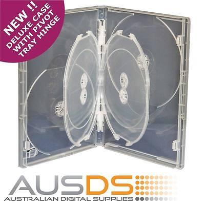 1 X CD / DVD DELUXE Case clear 6 disc 14mm -Hold 6 Discs pivoting tray hinge