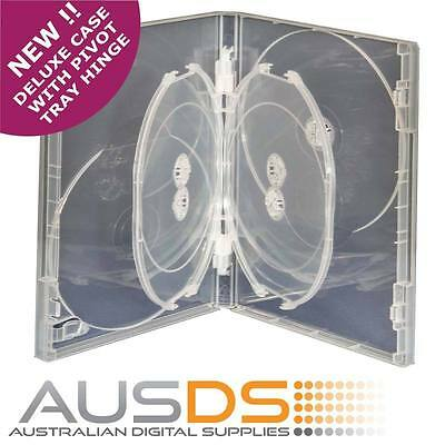 5 X CD / DVD DELUXE Cases clear 6 disc 14mm -Hold 6 Discs pivoting tray hinge