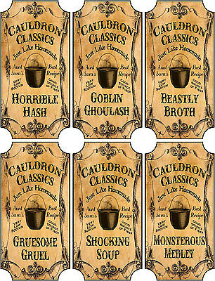 Vintage inspired Halloween 14 assorted bottle label stickers apothecary labels