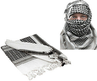 White & Black Shemagh Tactical Desert Keffiyeh Arab Heavyweight Scarf