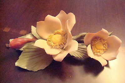 Capodimonte, Italy, porcelain flower, pink rose made in Italy