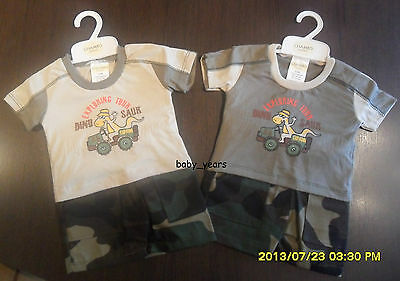 Boys Shorts And T-Shirt Set Baby Summer Outfit Clothing Camouflage 0-3 6-9 Mths