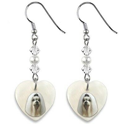 Maltese Dog 925 Sterling Silver Heart Mother Of Pearl Dangle Earrings EP206