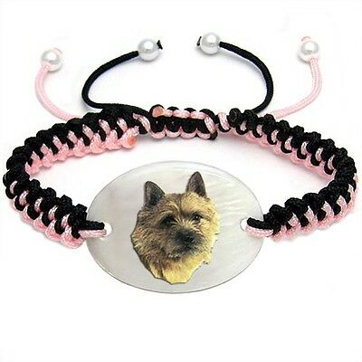 Norwich Terrier Natural Mother Of Pearl Adjustable Knot Bracelet Chain BS96