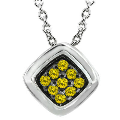 0.12 Ct Round Canary Diamond 925 Sterling Silver Pendant With Chain
