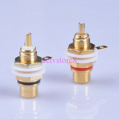 10pc Gold Plated RCA Jack Terminal Female Chassis HIFI Audio Connector Amp