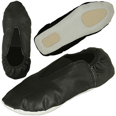 Rubber Sole Gymnastic Shoes Goat Leather Gymnastics Shoe kids or Adult Size, BLK