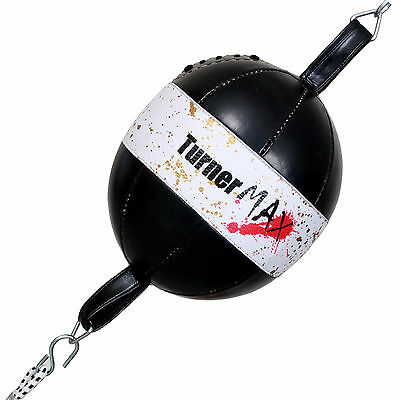 TurnerMAX Floor To Ceiling Speed Punching Bag Boxing Double End Ball White Black