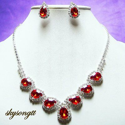 Austrian Ruby Red Crystal Bridal Rhinestone Necklace Earrings Set S1075R