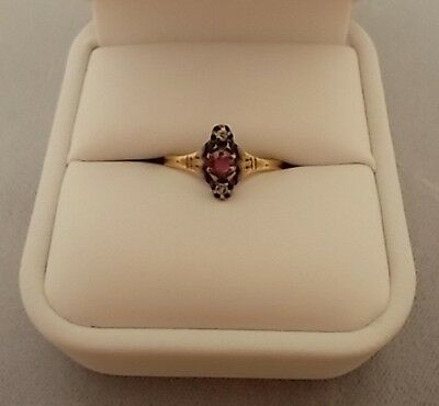 10K Gold Victorian .17Ct Genuine Natural Ruby Ring With Diamonds (#516)
