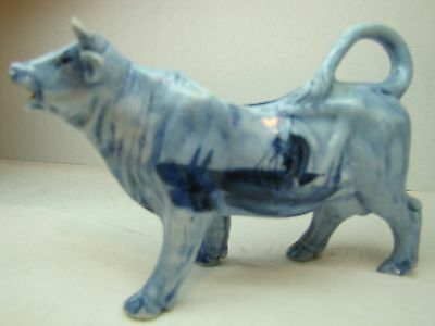 Antique Porcelain Cow Creamer Blue & White Delft ship small ornate detailing