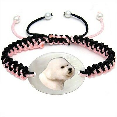 Otterhound Dog Mother Of Pearl Natural Shell Adjustable Knot Bracelet BS227