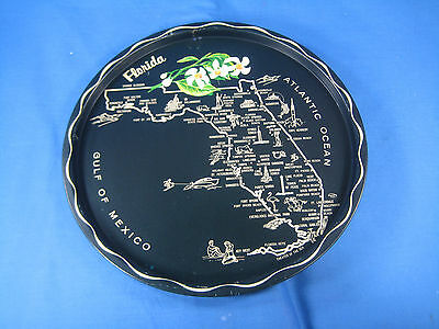"Vintage 11"" Round Florida Map Attractions Tin Serving Tray State Flower"
