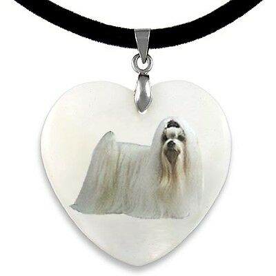 Maltese Dog Natural Shell Mother Of Pearl Heart Pendant Necklace Chain PP206
