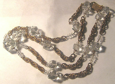 Vintage Art Deco 2 Strand Faceted Crystal Cubes On Multi Link Chain Necklace