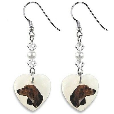 Basset Hound 925 Sterling Silver Heart Mother Of Pearl Dangle Earrings EP118